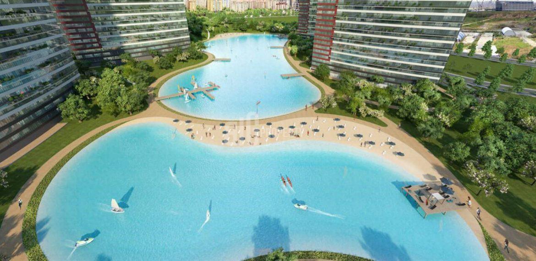 luxury design properties inside lake for sale Bahcesehir Istanbul