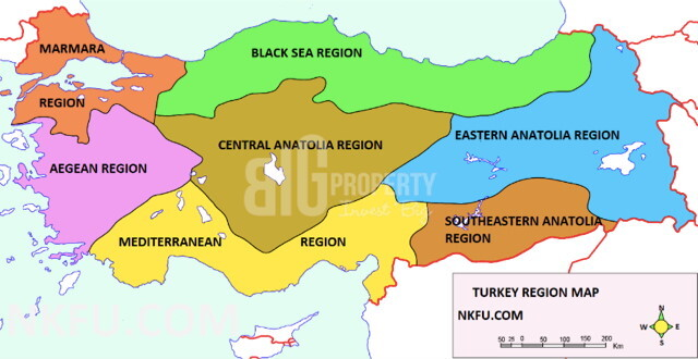 Turkey is divided into seven geographical regions